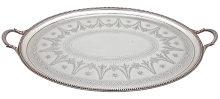 Antique Victorian, Hand Engraved, Oval Tray