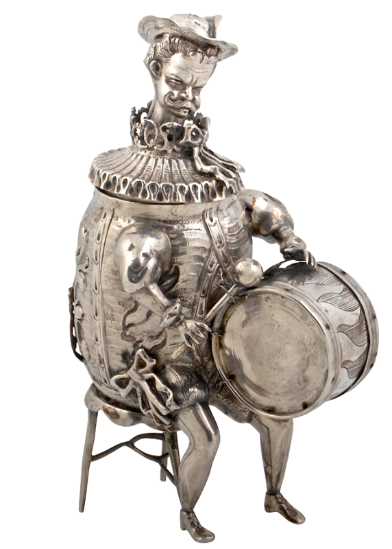 Rare & Unusual Antique Silver Musical Figures. Neresheimer, Hanau