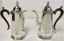 Cafe Au Lait Pots. Antique English Sterling Silver