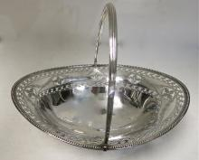 Large, Oval, Sterling Silver Basket With Swing Handle. English