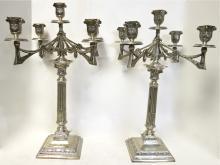 Pr. Of Jugendstil German Silver Candelabra