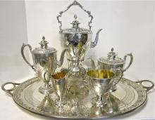 Magnificent, Antique English Sterling Silver Tea Set Complete With Tray & Tilting Kettle