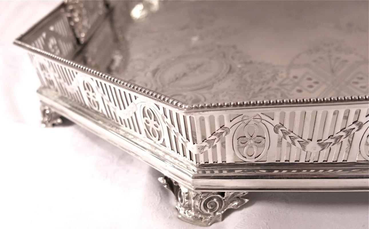 Large, Decorative Antique English Silver Gallery Tray