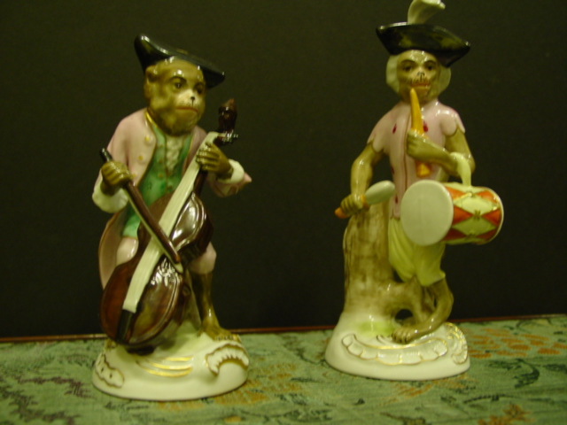 Set of 5 Meissen Style Porcelain Monkey Musician Figurines