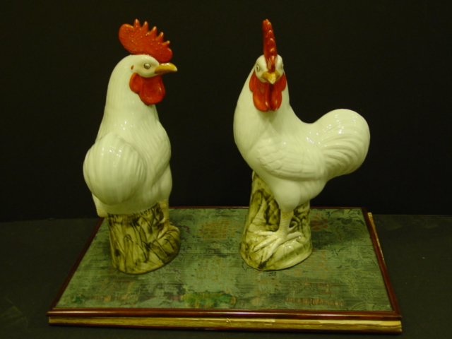 Pair of Chinese Export Roosters