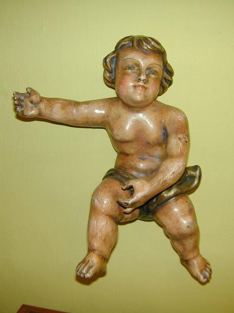 Pair of French  wood polychromed Putti