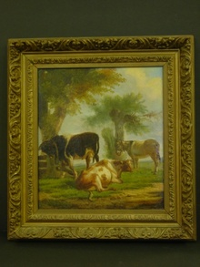 Framed Belgian Oil on Canvas Cow Painting