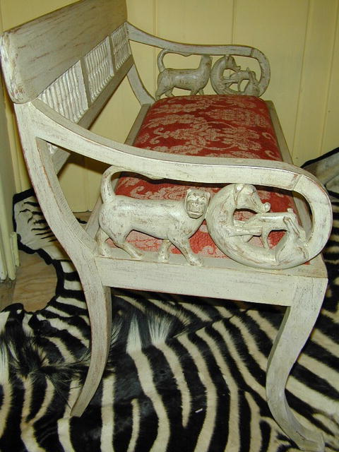 Anglo-Indian wood carved&painted Settee