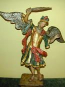Fine mid 18th. Polychromed &Gold/silver leafed Wood Carving of Archangel St.Micheal