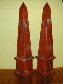 Pair of Large Red Jasper Obelisks