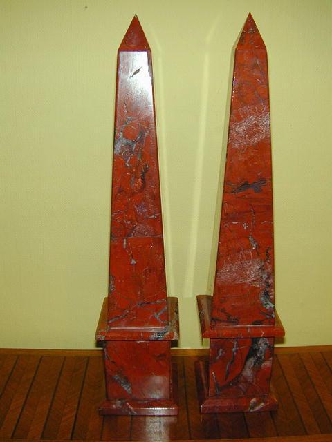 Pair of Large Red Jasper Obelisks