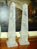 Pair of Large OBELISKS  made out of Quartz/Rock Crystal
