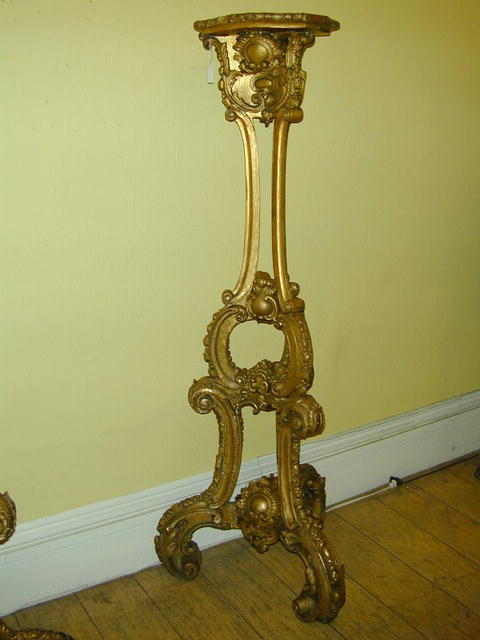 Pair of Italian Gilt Carved Wood Torcheres (Stands)