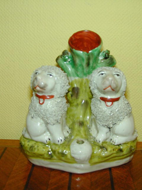 Mid. 19th.cent. Staffordshire Spill Vase figure of 2 Poodle Dogs