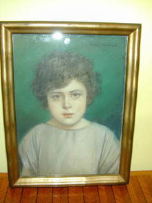 Late 19th.cent.  Framed and Signed  Pastel of Child