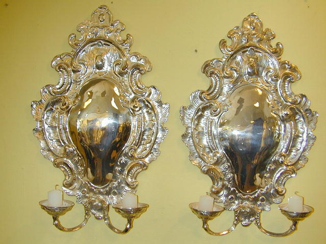 Pair of Silvered Metal Wall Sconces fitted with Candlearms