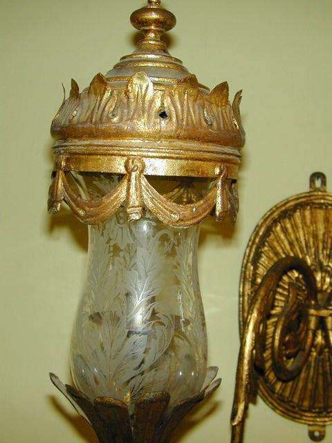 19th.Cent. Italian 2 Arm Gilt  Brass & Etched Glass Hurricane Sconce