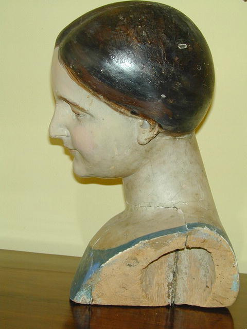 Colonial  Polychromed  Wood Bust Of MANNEQUIN