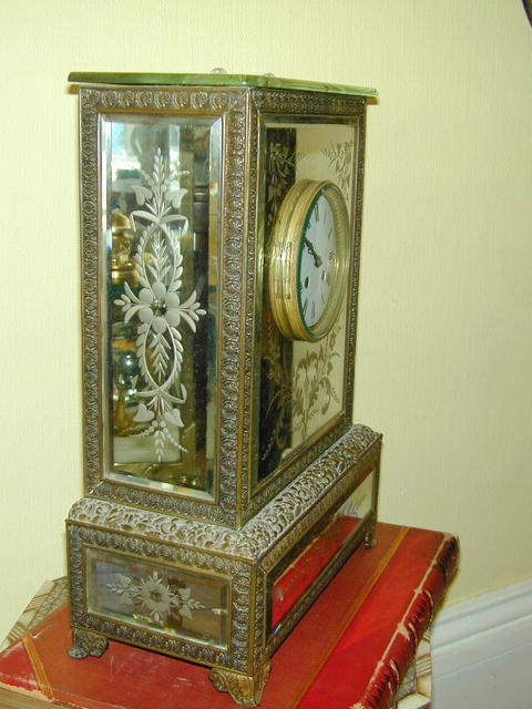 French  Brass & Etched Mirrored Glass CLOCK