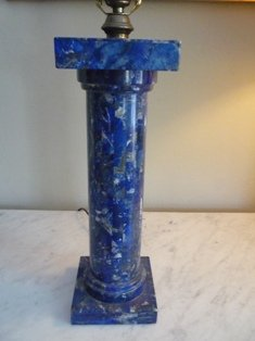 PAIR OF LAPIS LAZULI COLUMNS MADE INTO LAMPS