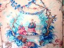 FRAMED & MOUNTED ANTIQUE CHINOISERIE TOILE FABRIC