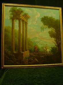 Framed Painting of Italian Landscape&Ruins
