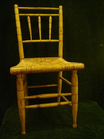 Set of 4  New England  Painted Faux Bamboo Chairs