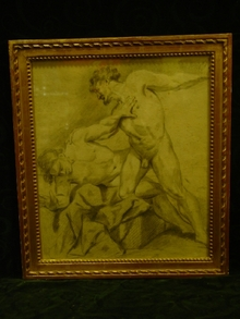 Framed Academic Drawing of 2 Wrestling Male Nudes
