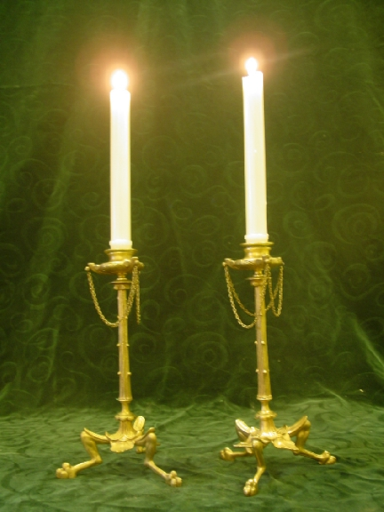 Pair of 19th. cent. French Gilt Bronze Candelsticks