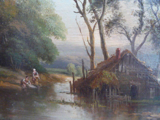 FRENCH 19TH.CENT.OIL ON PANEL LANDSCAPE SIGNED H C DELPY