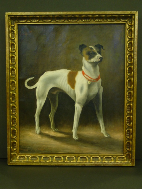 Framed Oil on Canvas Painting of a DOG