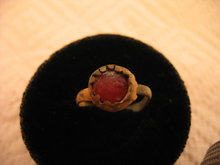 Roman Bronze Ring With Inlaid Red Glass Gem