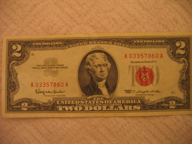 RARE - Series 1963 $2 Red Seal Note
