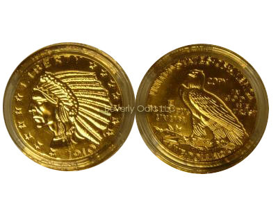 Lot of 10 - 1910 $5 Gold Indian Head Replicas