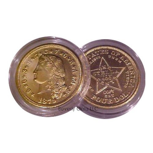 Lot of 5 - 1879 $4 Stella Flowing Hair Gold Replica Coin