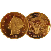 1849 $20 Liberty Double Eagle Gold Replica Coin