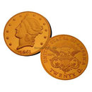 Lot of 10 - 1861 O $20 Liberty Double Eagle Gold Replica Coins