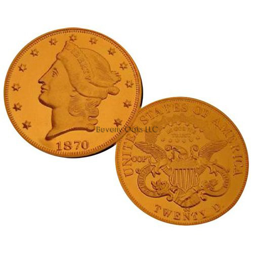 Lot of 10 - 1870 CC $20 Liberty Double Eagle Gold Replica Coins