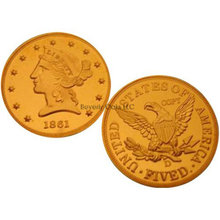 1861 D $5 Half Eagle Gold Liberty Replica Coin