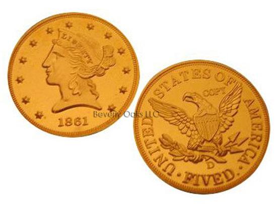 1861 D $5 Half Eagle MS68 Gold Replica Coin
