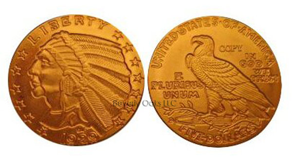 1929 $5 Indian Head Half Eagle Gold Replica Coin