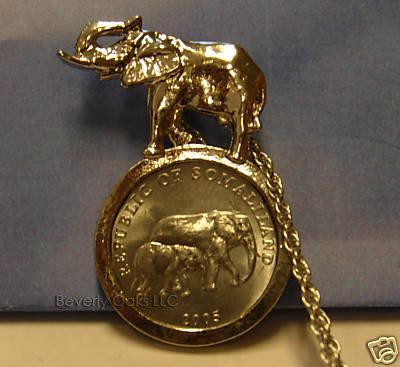 Silver Elephant Coin Pendant Necklace