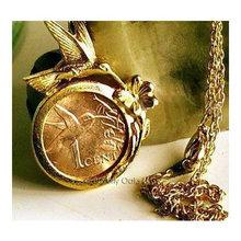 Gold Hummingbird Coin Pendant Necklace