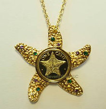 Gold Starfish Coin Pendant Necklace