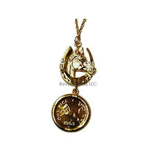 Horse & 1953 Coin Gold Pendant Necklace