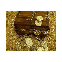 Wood Chest with Gold Doubloon Coins