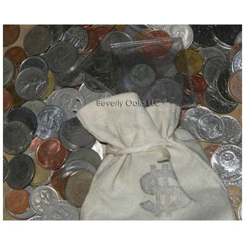 Pirates Loot Bag Stuffed with World Coins