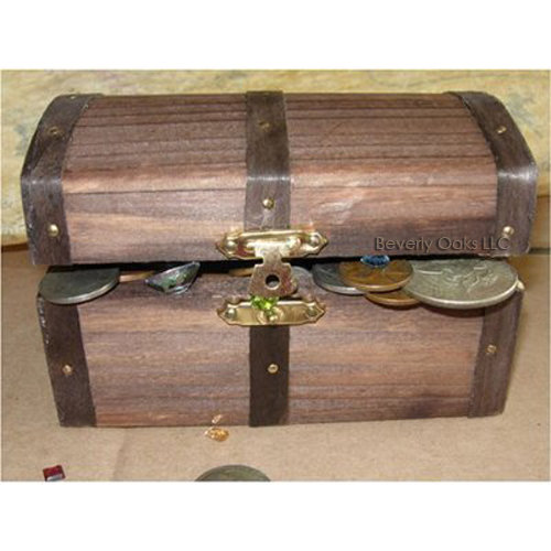 US Coins & Jewels in Treasure Chest