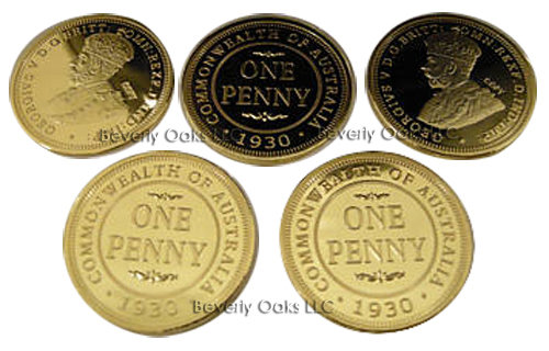 Lot of 5 - 1930 Australian Penny Gold Replica Coins
