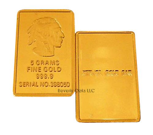 5g Gold Buffalo Indian Replica Bullion Bar